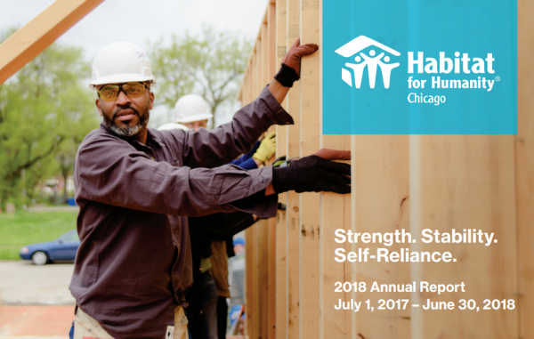 2018 Annual Report Cover - A Proud Volunteer Raises the Wall of a Habitat Chicago Home