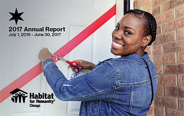 The cover of Habitat Chicago's 2017 Annual Report - a new homeowner cuts the ribbon on her door