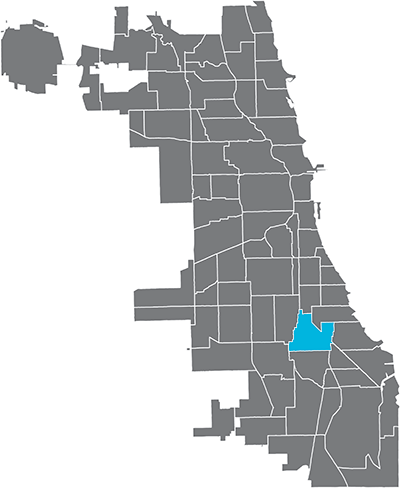 Greater Grand Crossing neighborhood highlighted in Chicago map