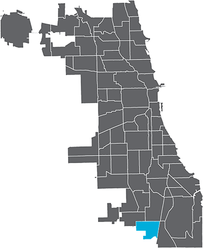 West Pullman neighborhood highlighted in Chicago map