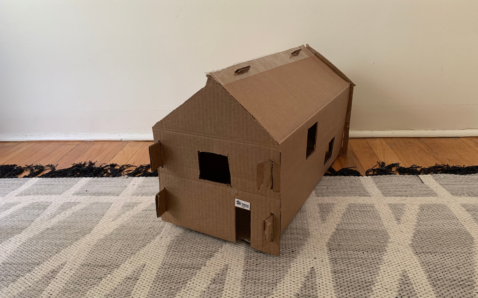 Habitat house made out of cardboard
