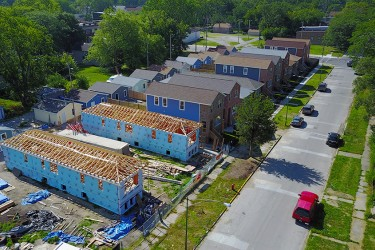 An aerial view of a Habitat block under construction - 18 affordable homes!