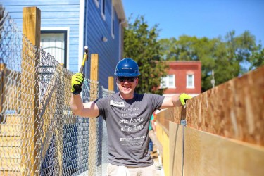 A volunteer on the new home construction site in Chicago