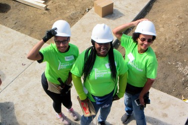 Habitat homebuyers on the construction site.