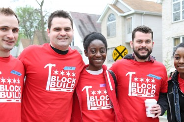 Committee members at a Habitat Chicago neighborhood event