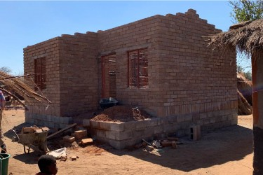 Brick house under construction in Malawi