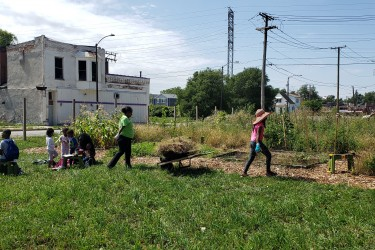 Residents working on their community garden